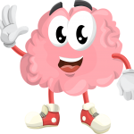 Friendly brain waving and smiling illustration