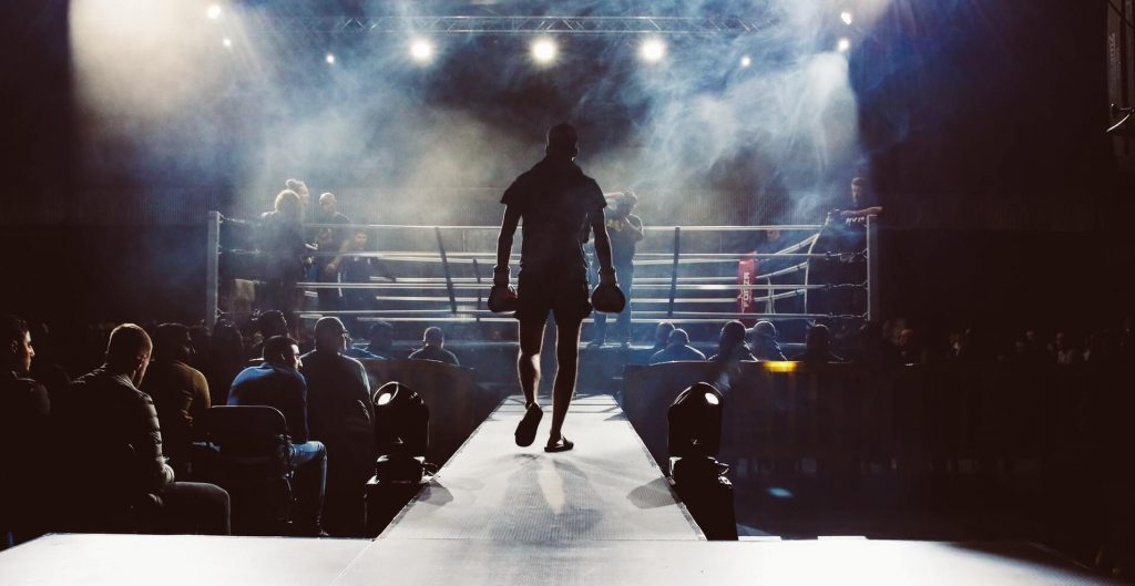 Motivation: boxer is walking to the ring on fight night