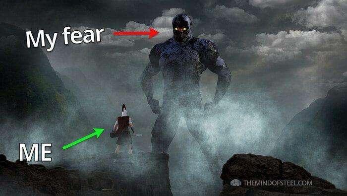 Mind of Steel Fear: Gladiator David vs Big Demon Goliath in a fog