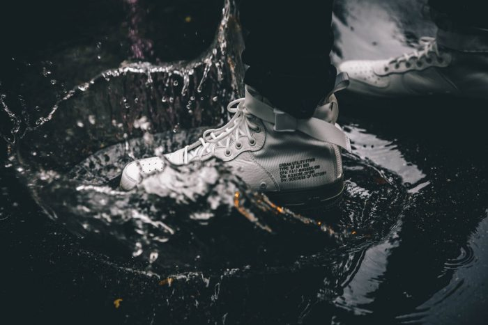 Smart Risk: sneaker shoe stepping into a puddle of rain water